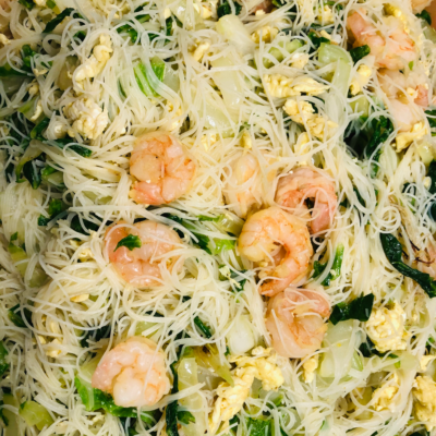 Healthy delicious Shrimp with Rice Noodles for curbside carryout, catering and delivery in Newport News and Hampton, VA